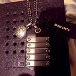 DIESEL Only The Brave dog tag stainless steel neck